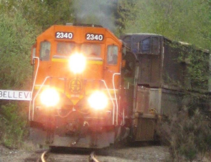 Double stack container train passing through Bellevue in 2007
