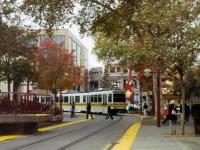 A light rail train in downtown Sacramento, CA